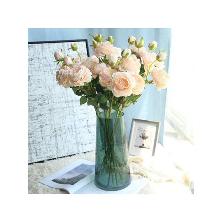 Bavy 3 Branches 3 Heads Artificial Flowers Western Roses European Peony Flowers Decorative Fake Flowers ()