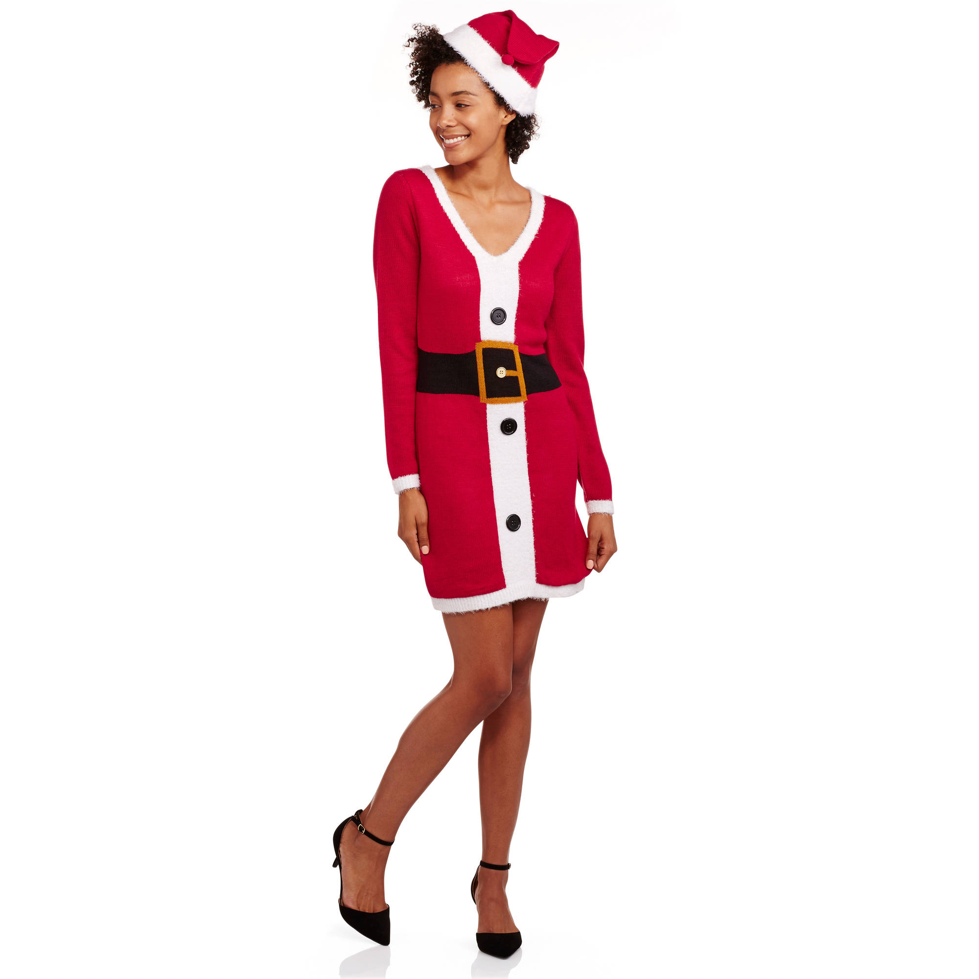 No Boundaries Juniors Holiday Santa Dress with Matching Hat