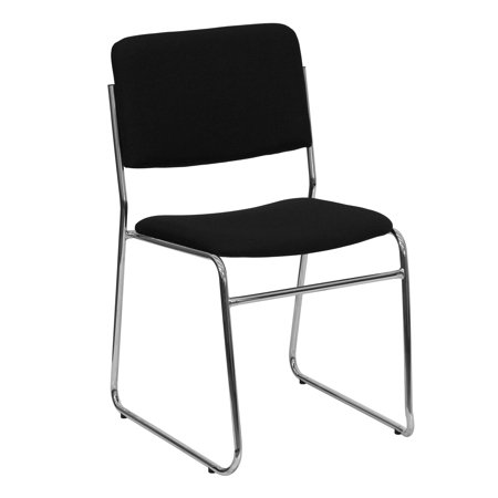 Durable Series Sled Base - Lancaster Home Hercules Series 1000-pound Capacity Black Fabric High Density Stacking Chair with Chrome Sled Base