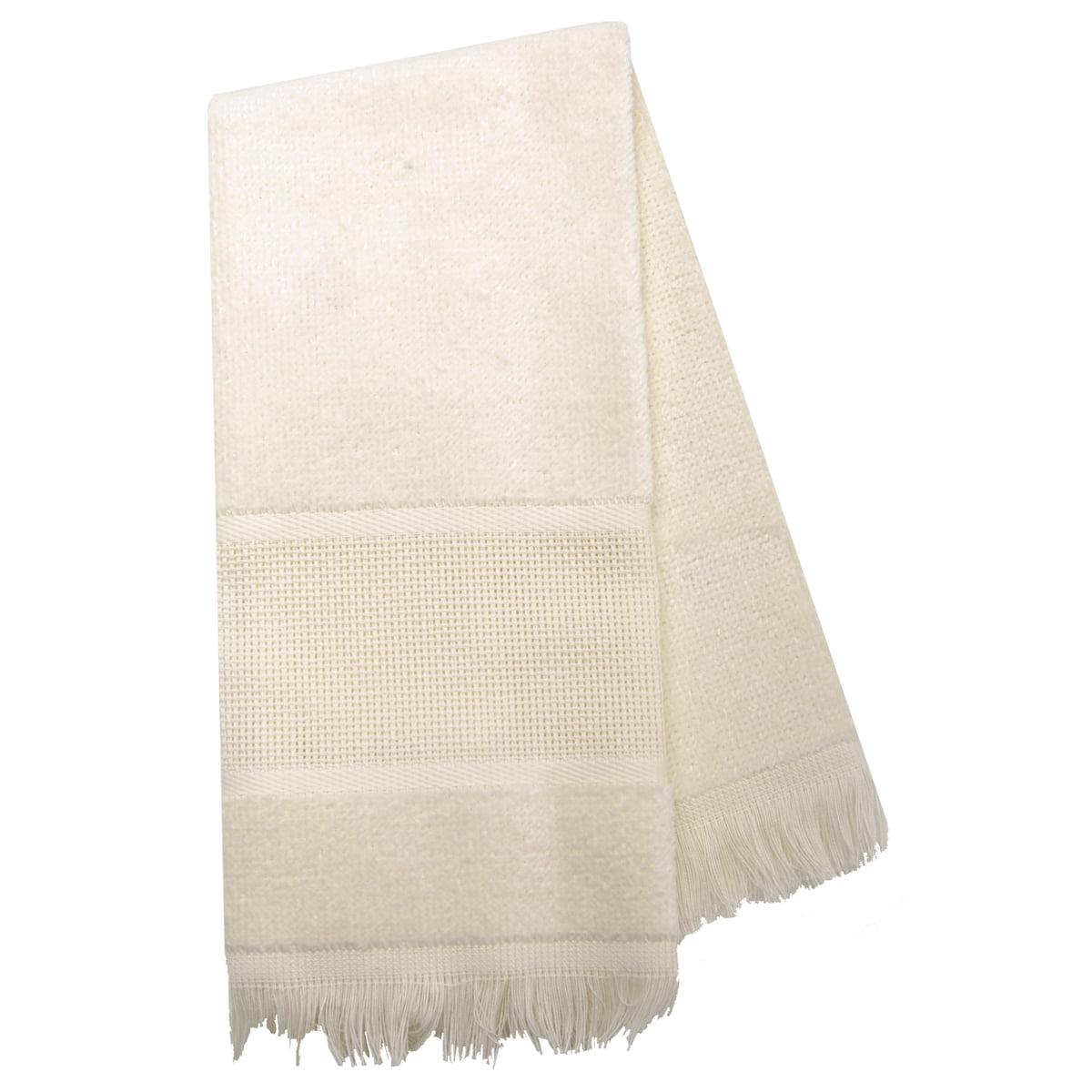 "Maxton Velour Guest Towel 14 Count 12""X19.5""-Ecru"