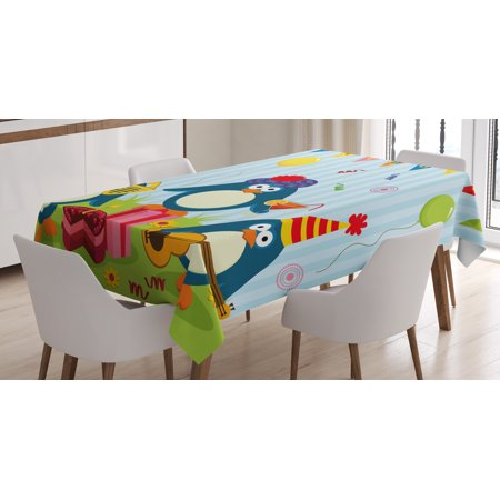 Birthday Decorations for Kids Tablecloth, Cartoon Penguin Party with Flags Cakes and Box, Rectangular Table Cover for Dining Room Kitchen, 52 X 70 Inches, Light Blue and Fern Green, by