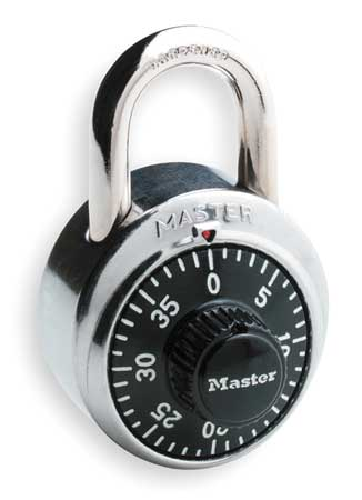 MASTER LOCK 1500 Combination Padlock, Center, 1 Dial, SS