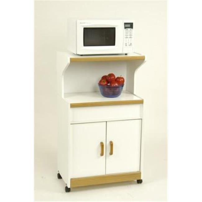 Altra 4574GM Microwave Workcenter - White with Oak Trim
