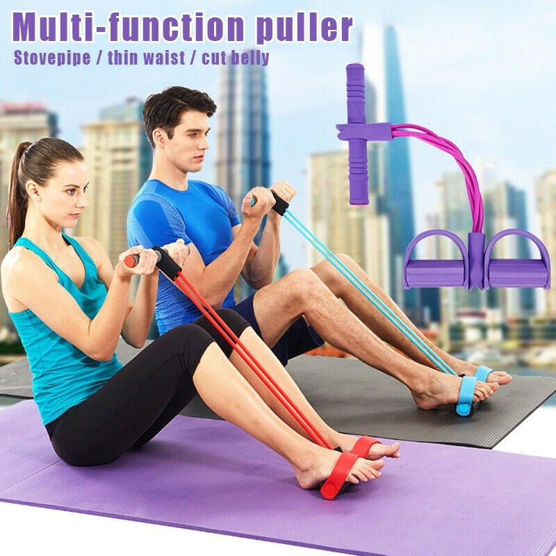 4 Resistane Elastic Pull Ropes Exerciser Rower Belly Resistance Band Home Gym