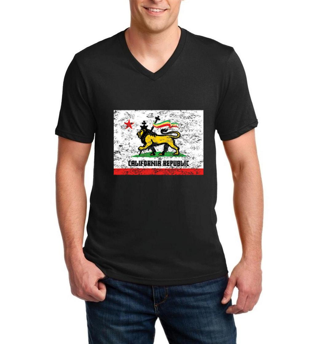 California Republic Flag Rasta What to do in Los Angeles? Map LA Guide CA Gift Men V-Neck Shirts Ringspun