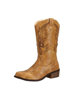 SheSole Women's Wide Calf Western Cowgirl Cowboy Boots Tan