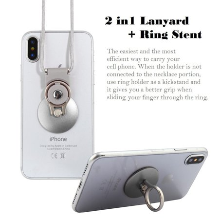 Insten Universal Circle Ring Stand Holder And Silver Lanyard With Adhesive Back -Silver