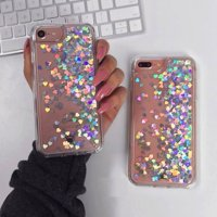 """For iPhone 6 4.7"""" iPhone 6s 4.7"""" Floating Holographic Silver Hearts Liquid Waterfall Bling Glitter Case"""