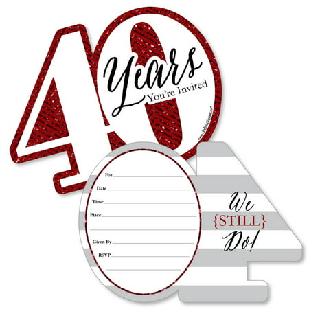 We Still Do - 40th Wedding Anniversary - Shaped Fill-In Invitations - Anniversary Party Invitations - Set of (40th Anniversary Hat)