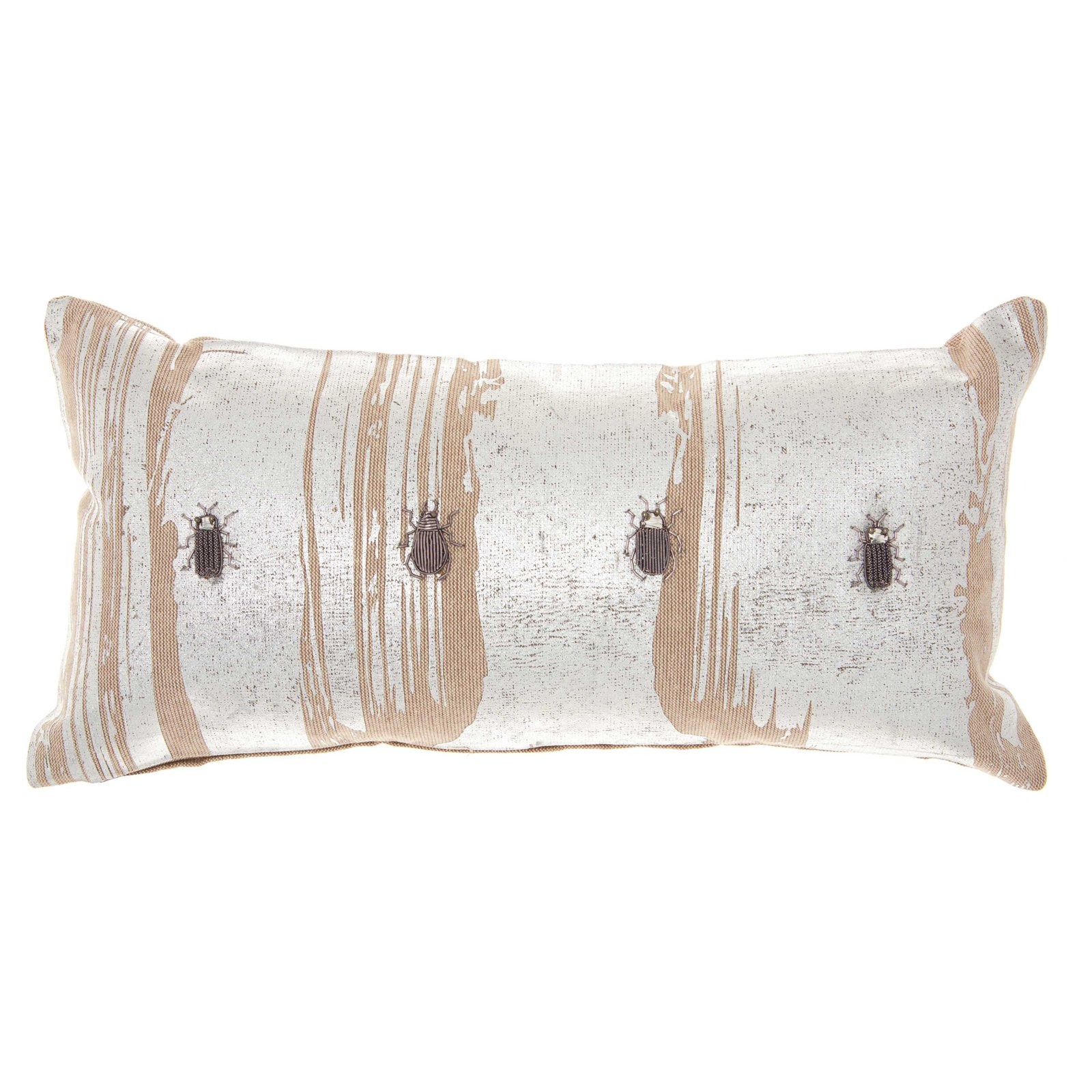 Nourison Couture Luster Metallic Beetles Linen Throw Pillow