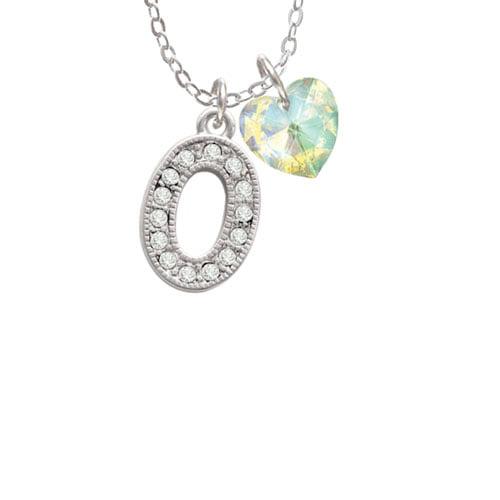 "Crystal Initial - O - Beaded Border -  - Clear AB Crystal Heart Sophia Necklace, 18""+1"""