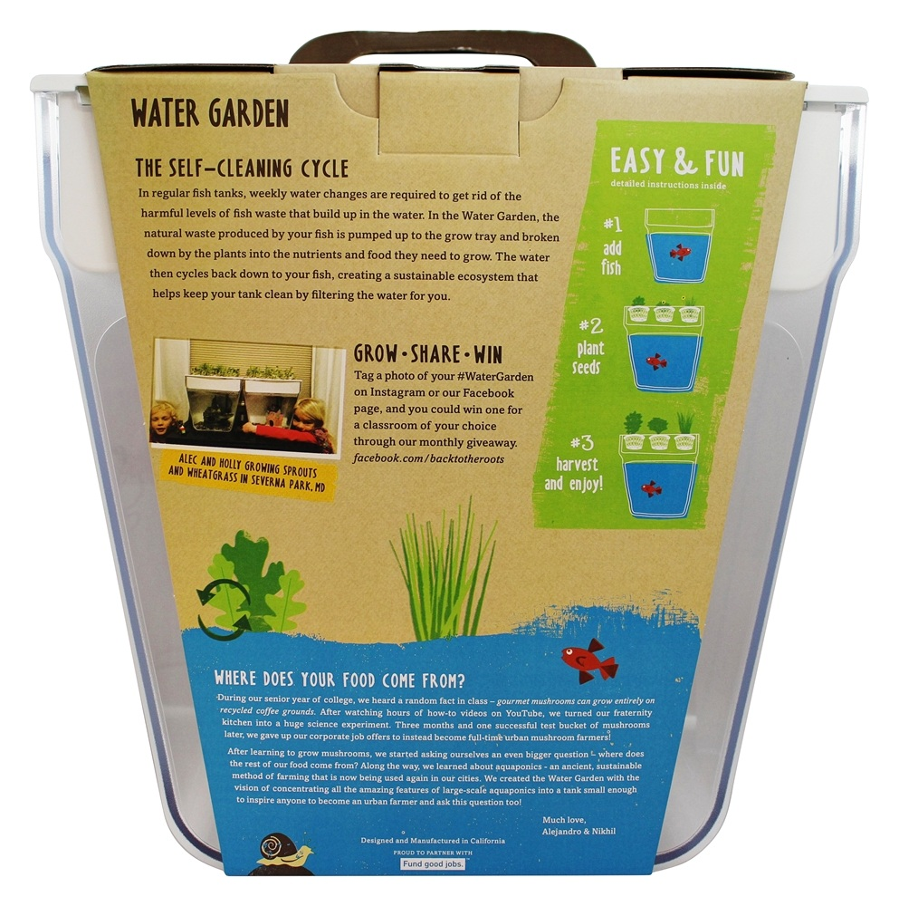 Self Cleaning Fish Tank Garden Back To The Roots Water Garden 3 Gallons Walmartcom