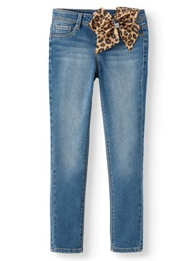 Squeeze Skinny Jean with Detatchable Leopard Hair Bow (Little Girls & Big Girls)