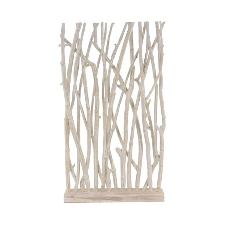 - Decmode Natural Teak White Driftwood Screen, White