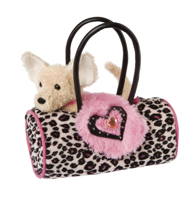 Douglas Cuddle Toys PNK LEOPARD BAG W/CHIHUAHUA