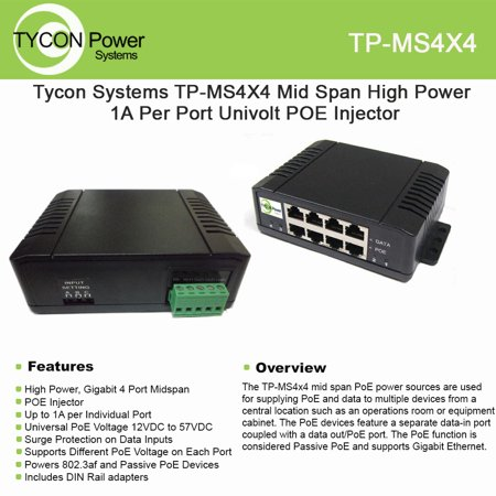 Tycon Power Tp Ms4x4   Mid Span High Power Poe Injector   4 Port