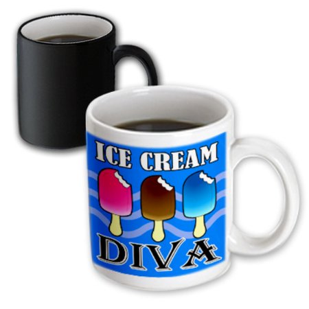 3dRose Ice Cream Diva - Kawaii Ice Cream - Blue, Magic Transforming Mug, - Ice Blue Contact Lenses Halloween