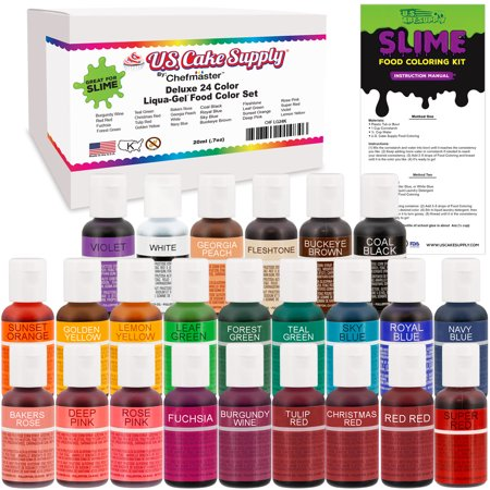 U.S. Art Supply 24 Color Liqua-Gel Slime Making Food Coloring Dye ...