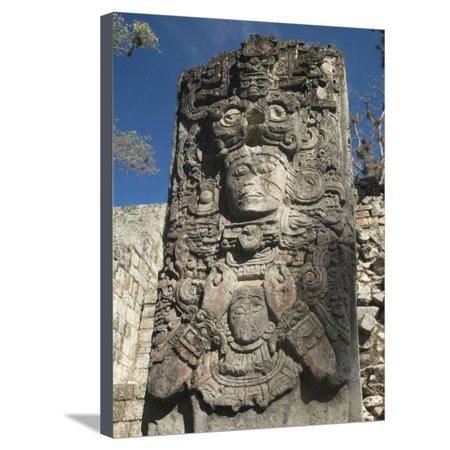West Court, Stela P, Copan Archaeological Park, Copan, UNESCO World Heritage Site, Honduras Stretched Canvas Print Wall Art (Heritage Court Collection)