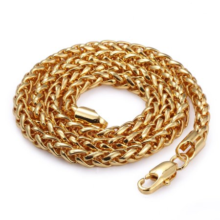 Hermah 5mm Mens Chain Boys Wheat Link Gold Plated Necklace 22-26inch (Boys Link)