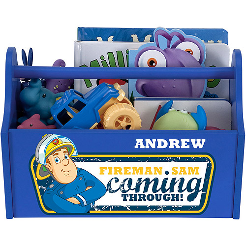 Personalized Fireman Sam Coming Through Blue Toy Caddy