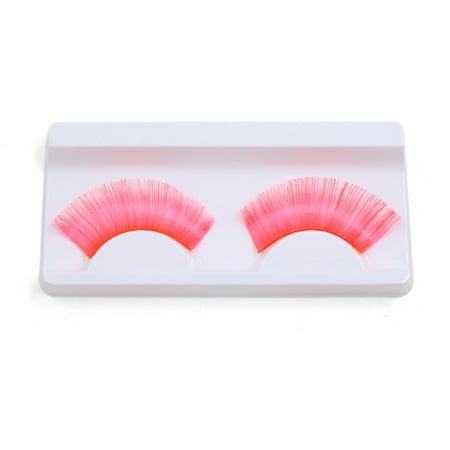 1 Pair Pink False Eyelashes Extension Eyes Decor Masquerade Makeup for Women - Masquerade Makeup