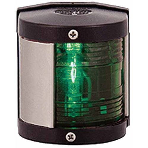 Aqua Signal 25200 Series 25 Classic 12V Navigation Light for Power or Sail Boats Up to 39', Starboard Side Mount, Black