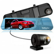 """KDLINKS R100 Ultra HD 1296P Front + 1080P Rear 280 Degree Super Wide Angle Rearview Mirror Car Dash Cam w/ IPS  5"""" Screen, G-Sensor & Superior Night Mode, 1 Yr Dashcam Warranty, Support 64/128GB Card"""