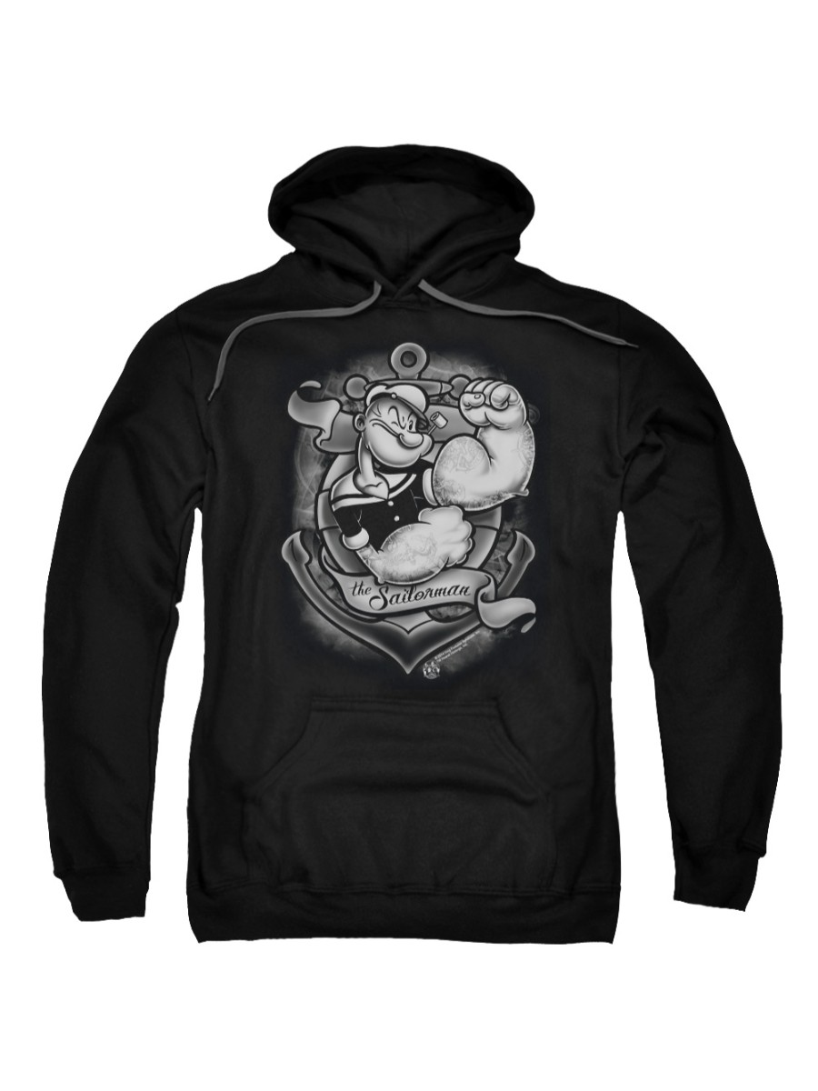 Popeye The Sailor Man Cartoon Anchors Away Adult Pull-Over Hoodie