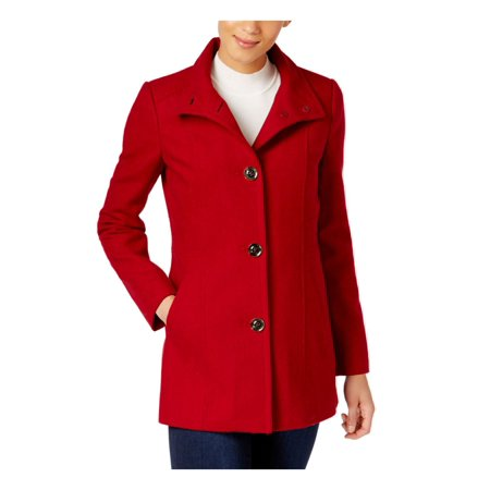 authentic clearance sale largest selection of 2019 INC International Concepts Womens Stand-Collar Peacoat Red Dahlia S