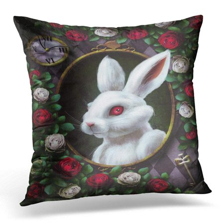 CMFUN Black Wonderland White Rabbit from Portrait in Oval Clock Key Red Roses and on Chess The Character Alice Pillow Case Pillow Cover 20x20 inch - Rabbit From Alice And Wonderland