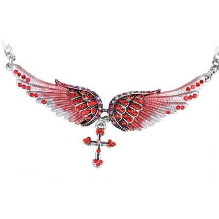 Angel Wing Cross Choker Necklace Guardian Women Biker Crystal Jewelry Gifts Her Girl Silver Color (18+2)