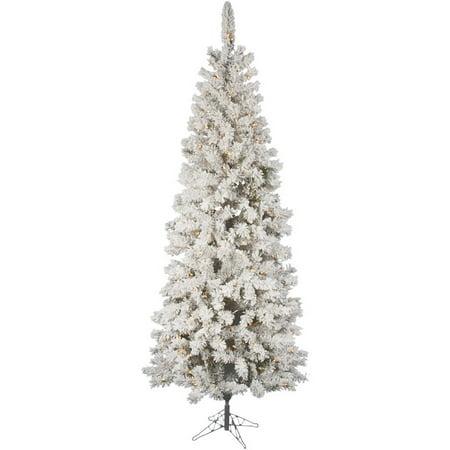 - Vickerman Pre-Lit 7.5' Flocked Pacific Artificial Christmas Tree, LED, Warm White Lights