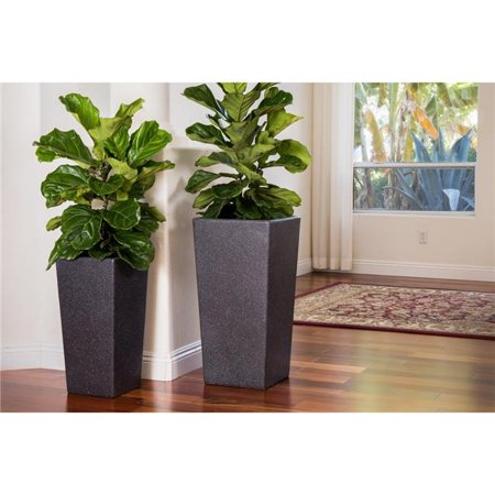XBrand Modern Nested Black Square Flower Pot Planter, Set of 2 Different Sizes, 29 Inch & 24 Inch Tall
