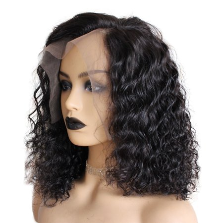 AISOM Human Hair Lace Front Human Hair Brazilian Deep Wave Wigs Natural Color 250% Density,