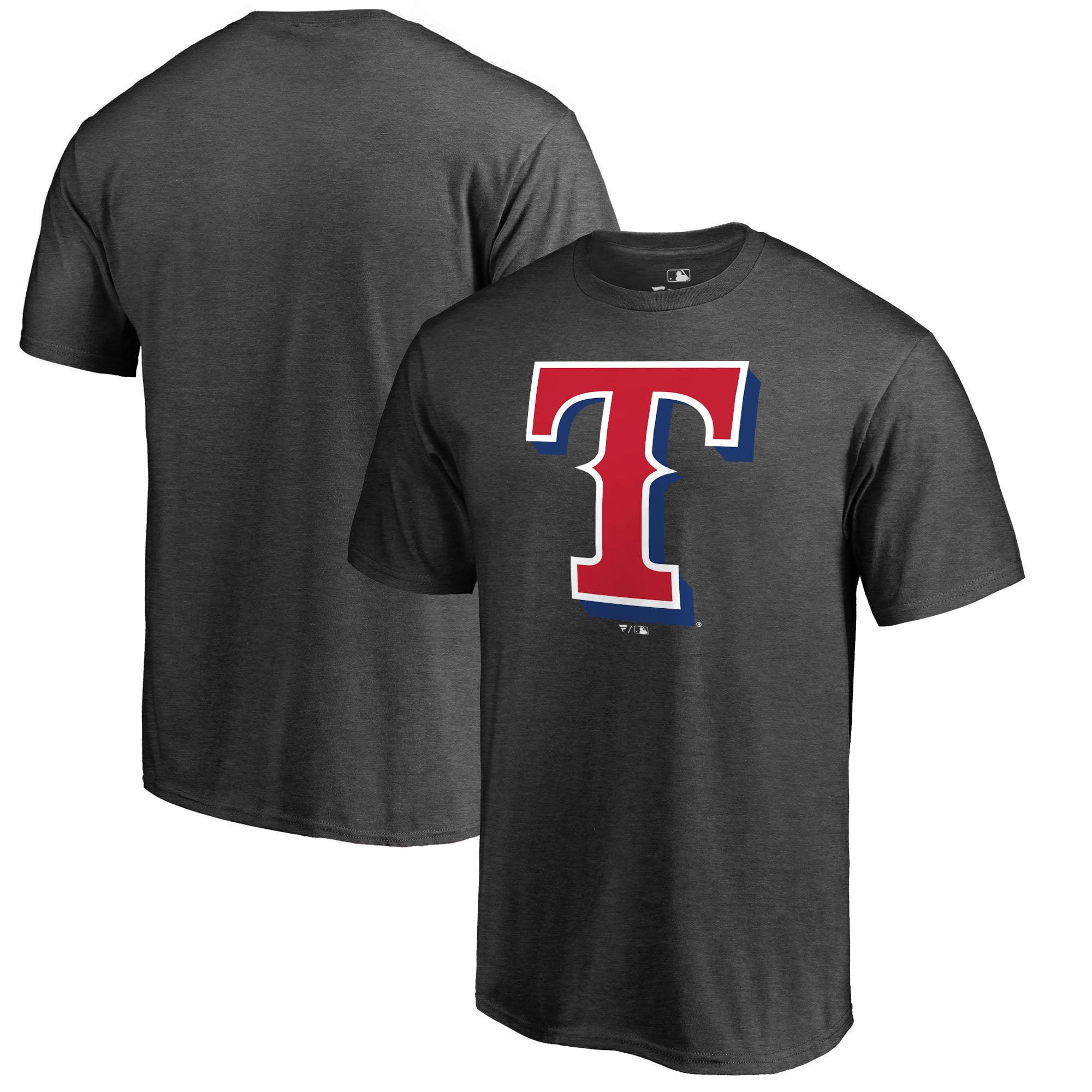 Texas Rangers Fanatics Branded Big & Tall Primary Logo T-Shirt - Heathered Charcoal