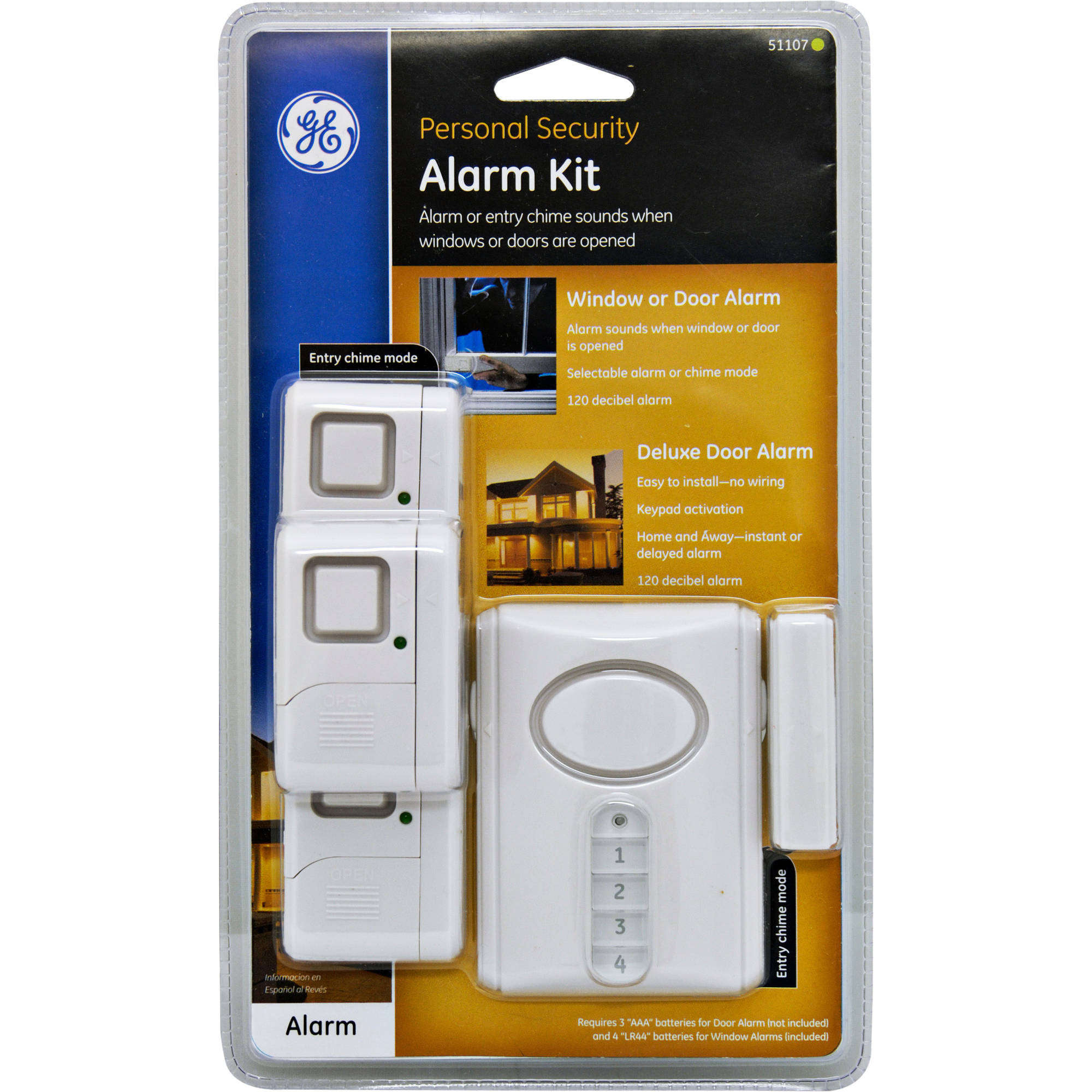 GE Personal Security Wireless Alarm Kit, Includes 1 Deluxe Door ...
