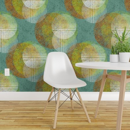 Peel and Stick Removable Wallpaper Mid Century Mod Abstract Circles Mo