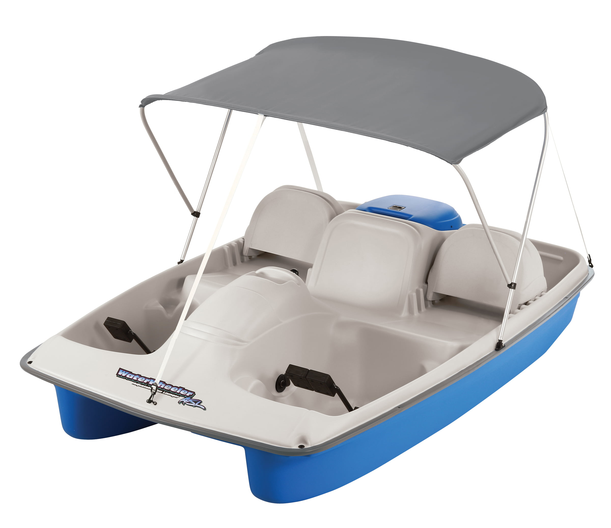 Click here to buy Water Wheeler ASL Electric Pedal Boat with Canopy, Blue by KL Outdoor.