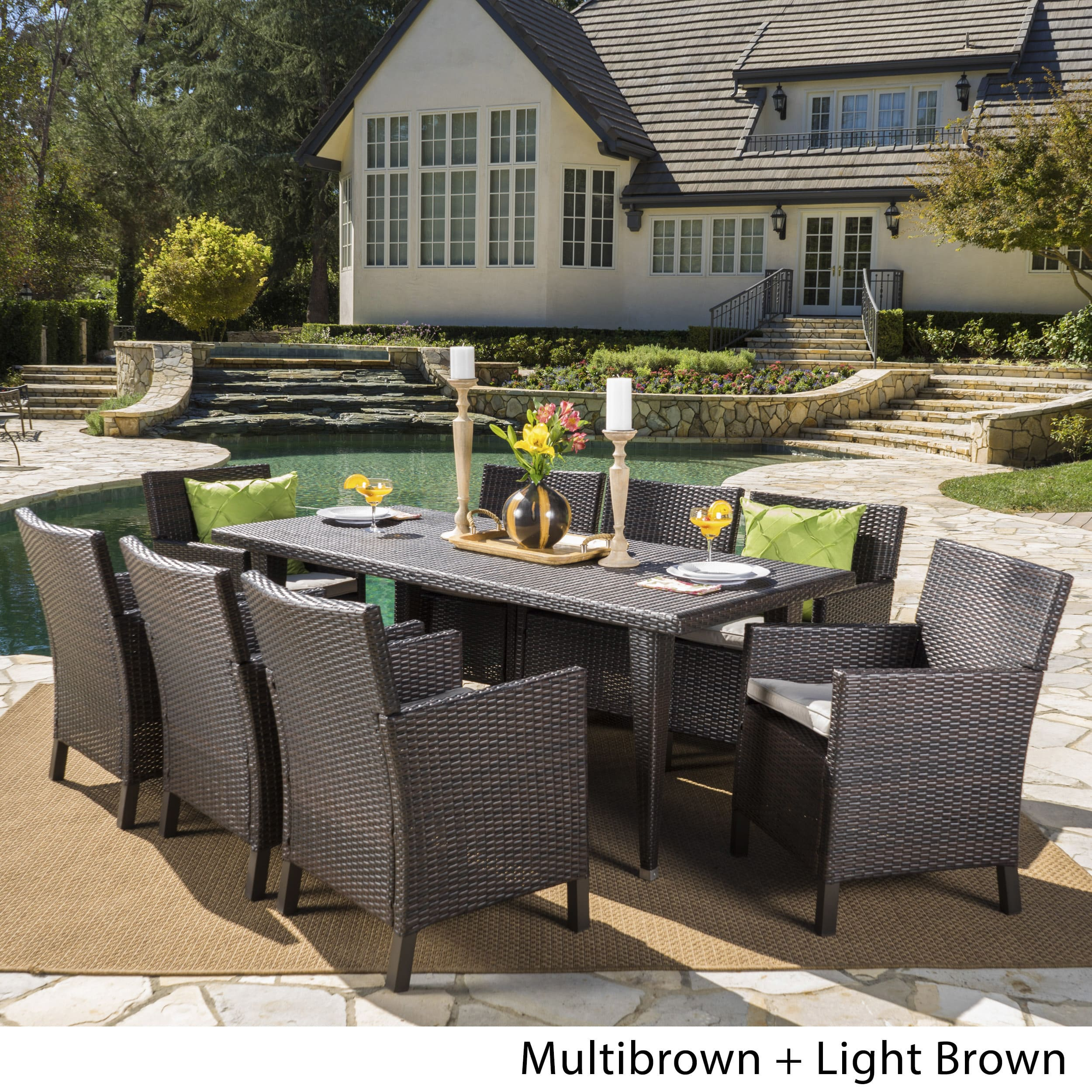 Christopher Knight Home Celeste Outdoor 9-piece Rectangular Wicker Dining Set with Cushions by