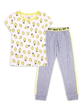 Wonder Nation Girls Exclusive 4-16 & Plus 2-Piece Set with Graphic T-Shirt & Matching Lightweight Pajama Jogger Pants