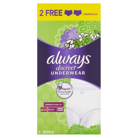 Image of Always Discreet Incontinence Underwear for Women, Maximum, Classic, XL, 28 Ct