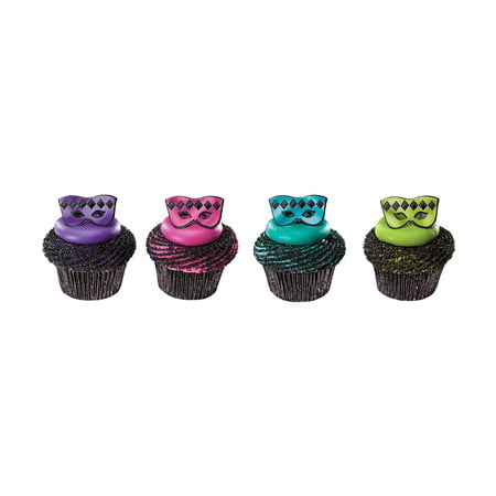 24pack Masquerade Mask Cupcake / Desert / Food Decoration Topper Rings with Favor Stickers & Sparkle