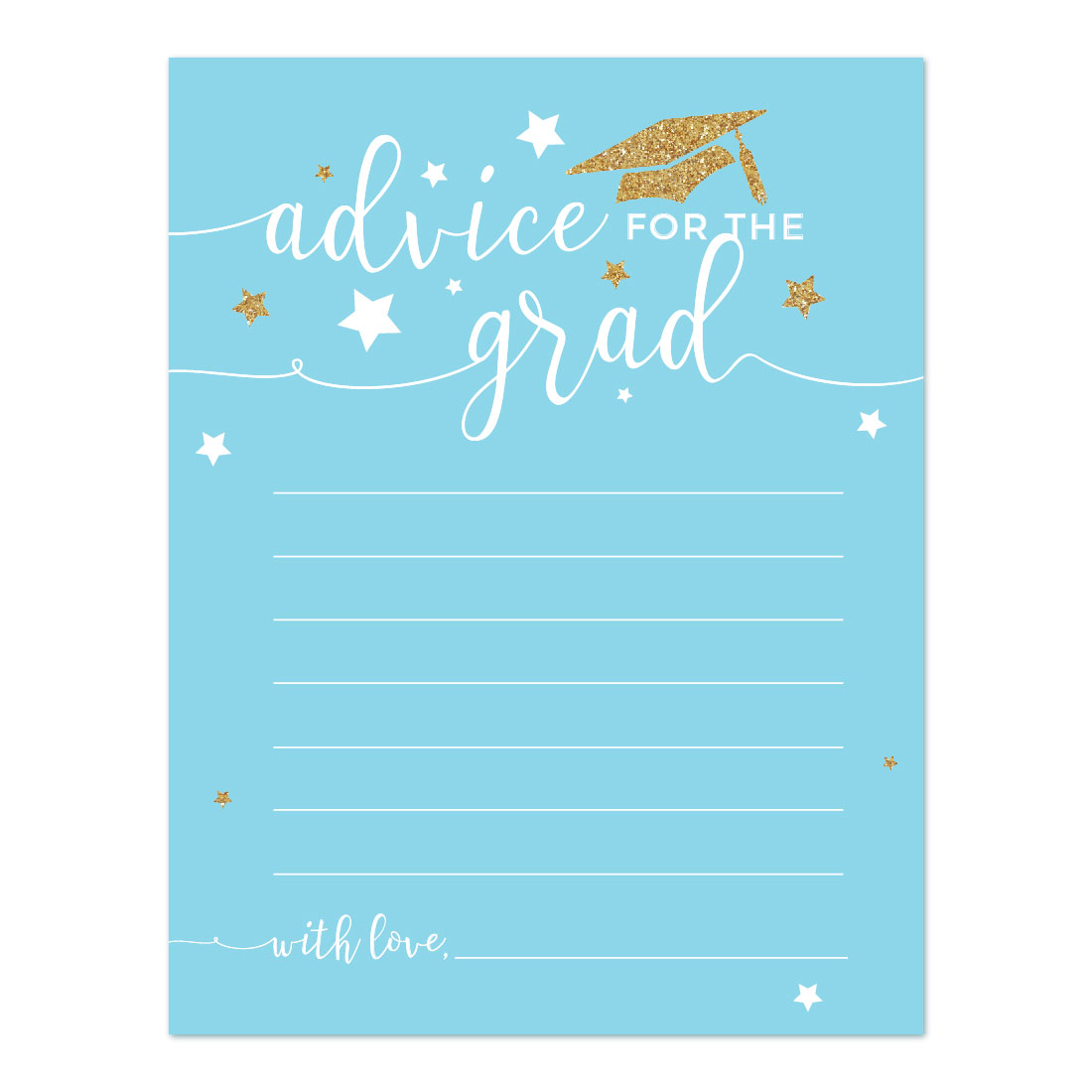 Baby Blue and Gold Glittering Graduation Party, Advice for the Grad Cards, 20-Pack, Games