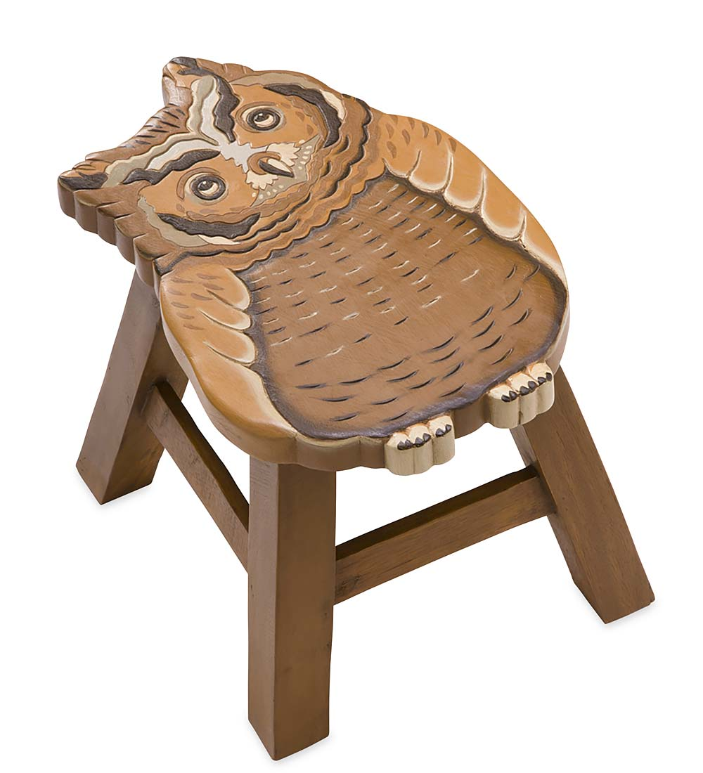 Hand Carved Acacia Woodland Friends Stool, in Owl