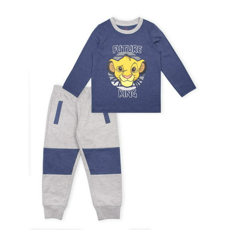 Disney The Lion King Boys 4-7 Long Sleeve T-Shirt & Jogger Sweatpants, 2-Piece Outfit Set French Terry Roll