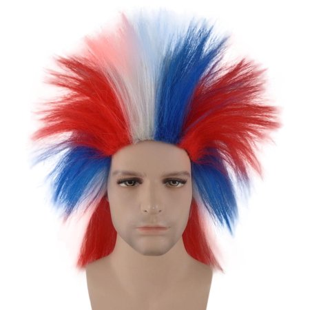 Patriotic Crazy Wig, Red, White, & Blue HM-127