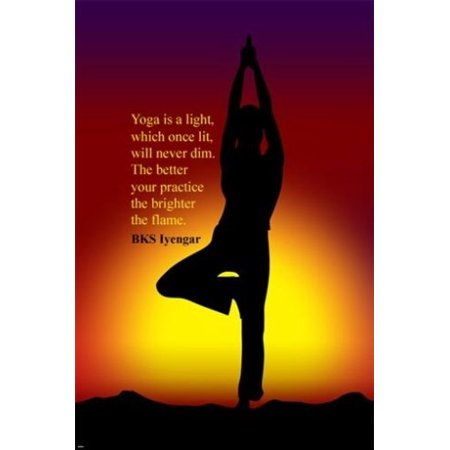 tree yoga pose inspirational quote posterbk iyengar