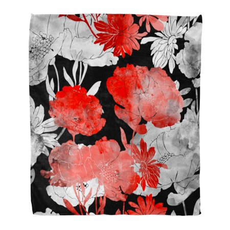 Flannel Daisies - SIDONKU Throw Blanket Warm Cozy Print Flannel Imprints Poppies and Daisies Hand Digital Drawing Watercolor Botanical Boho Comfortable Soft for Bed Sofa and Couch 58x80 Inches