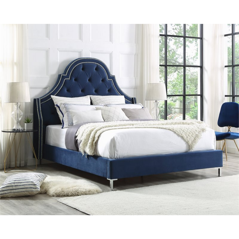 Aaron Blue Velvet Platform Bed Frame King Size Tufted